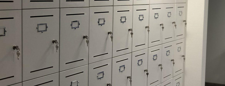 Grey school lockers